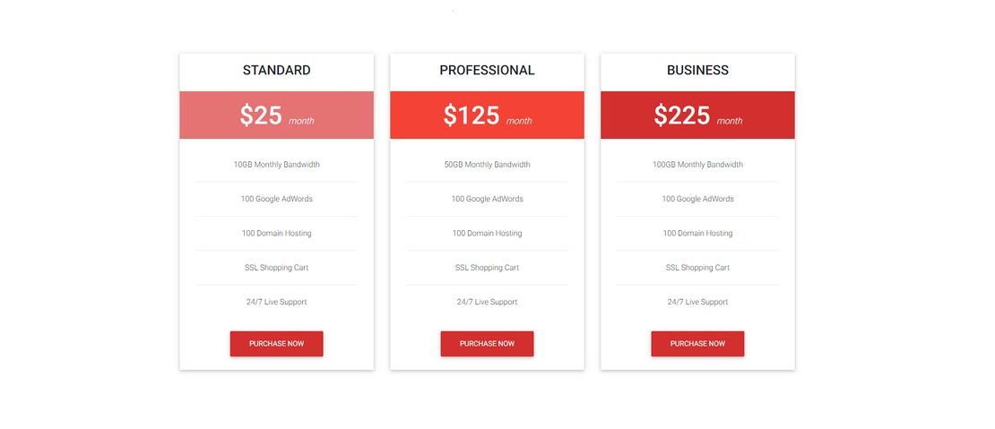 Tutorial Pricing Table