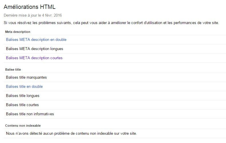 Google Search Console Améliorations HTML