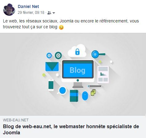 Exemple partage blog Facebook
