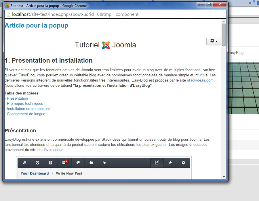 Article popup Joomla